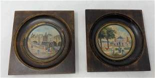 Pair of round miniature paintings Tin, one signed RF