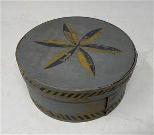 Pantry Box Decorated with pinwheel & line; paint worn,