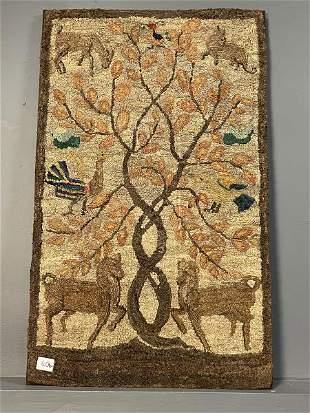 "Hooked Rug Tree of Life, 48"" x 27"""