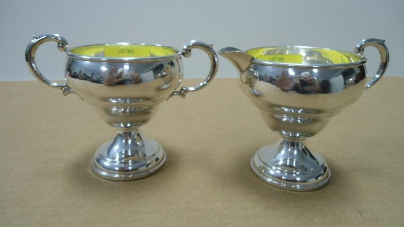 6: Pair - Creamer & Sugar, Sterling Silver, Weighted, 3