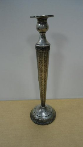 "Candlestick, Sterling Silver Weighted, 11 1/2"" Tall"
