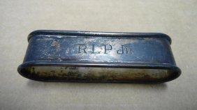 12: Napkin Ring, Sterling Silver, .5 oz. Troy