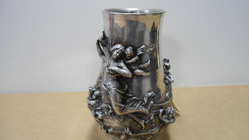 22: Vase, Sterling Silver Over Ceramic, 8 Figures in Bo