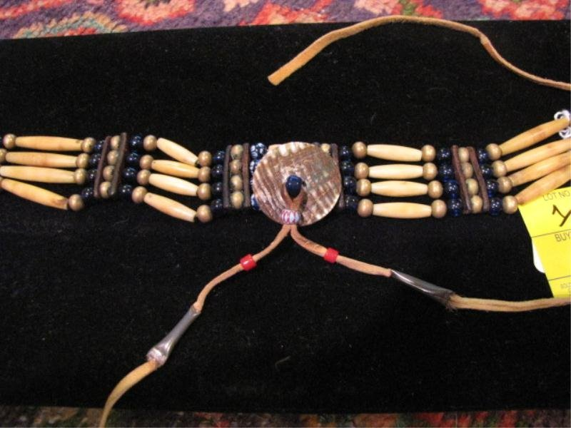 1: Native American Horn Choker Separated By Rows of Bea