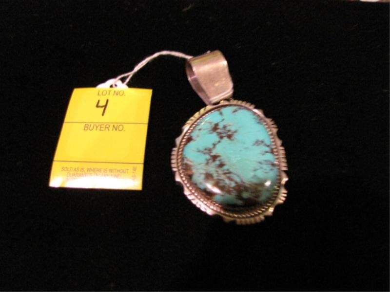 4: Native American Sterling Silver Pendant w/  Large Ro