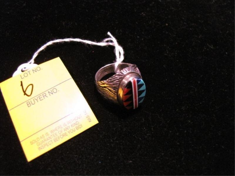 6: Native American Sterling Silver Ring w/ Triangular I
