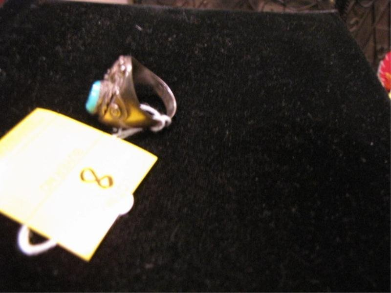 8: Native American Sterling Silver Ring w/ Small Oval T