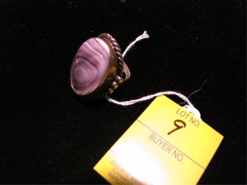 9: Native American Sterling Silver Ring w/ Purple Wampu