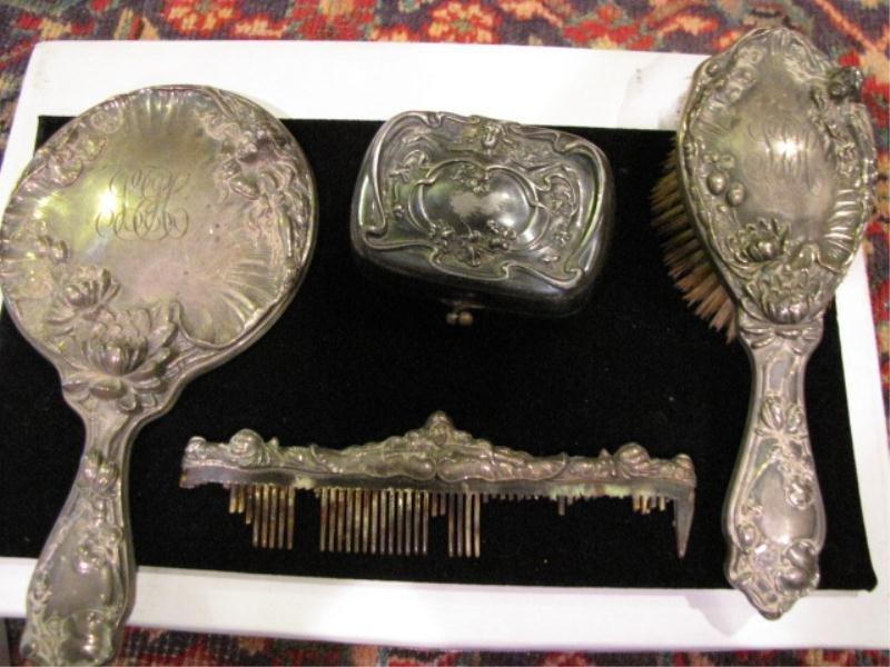 16: (4) Piece Art Nouveau Deco Dresser Set, (3) Pieces