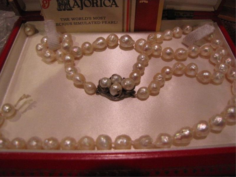 19: Majorica Pearls, Sterling Clasp