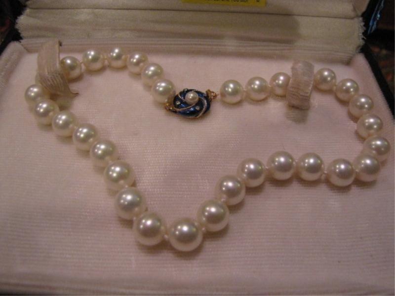 20: Pear Necklace, Majorica w/ Blue Enamel Clasp