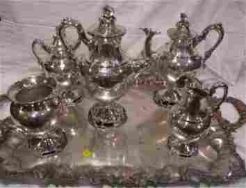 44: Tea Service Sheffield, Silver Plate Tray, (5) Early