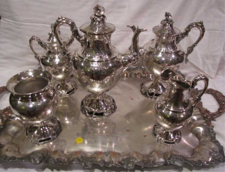 44: Tea Service Sheffield, Silver Plate Tray, (5) Early