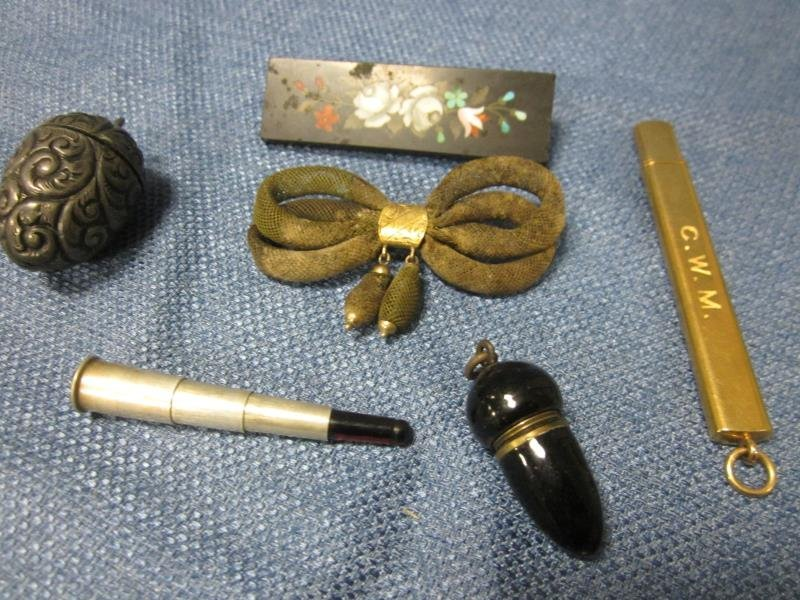 (5) Piece of Misc. Jewelry - Pencil Holder, Mosaic Pin,