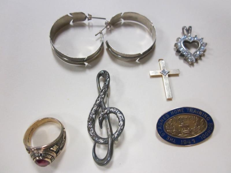 Lot of Jewelry - 10K Pin, 14K Cross, 10K Manchester,