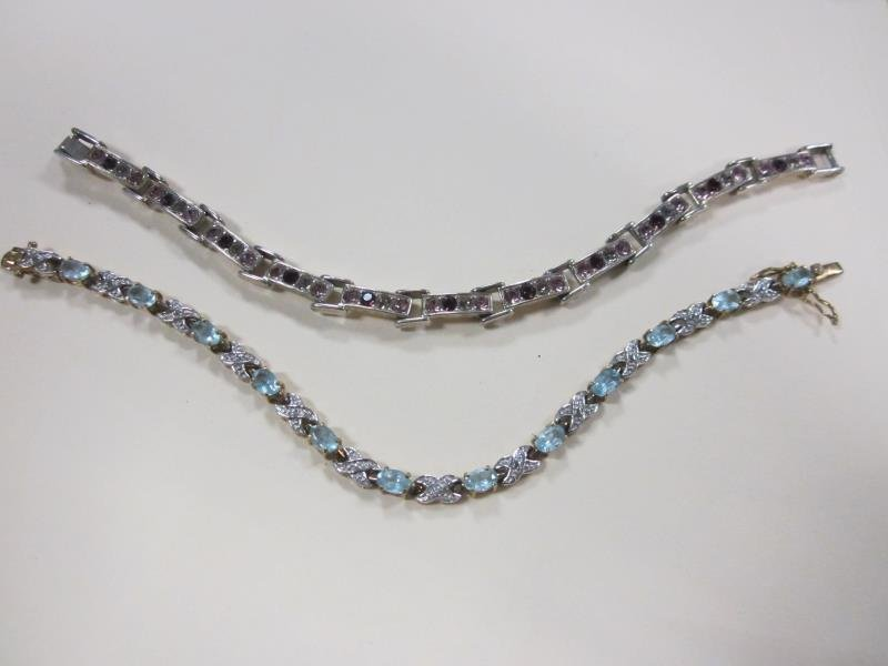 2 Linked Bracelets with Colored Stones 925