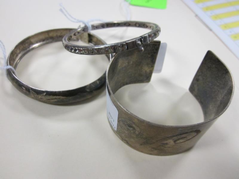 (3) Bracelets - 2 Marked Sterling, Largest One Unmarked
