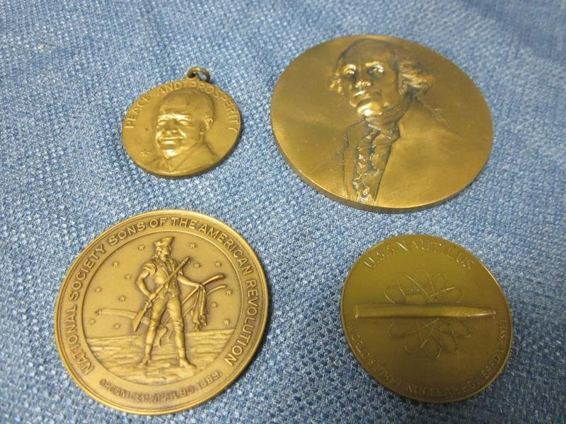 Lot of (4) Bronze Medals, (1) Presented to Harry F.