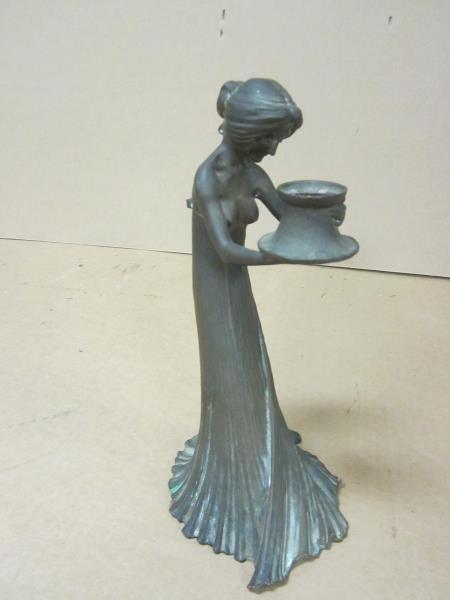"Statue, Bronze, Lady in Dress, Signed Gur Schnet, 9"""