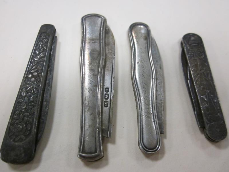 (4) Pocket Knives, 2 Coin Silver