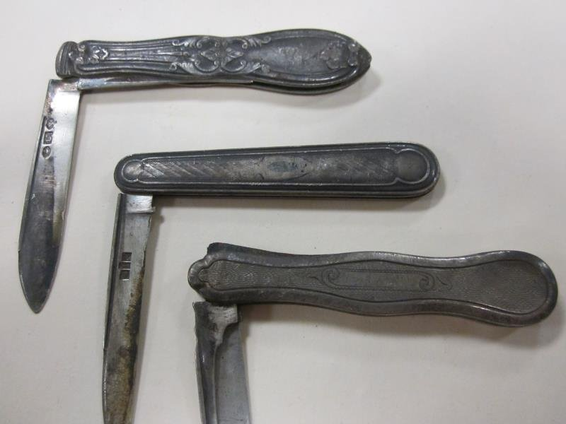 (3) Coin Silver Pocket Knives