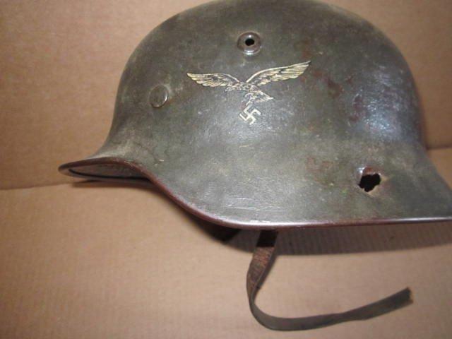 German Helmet WWII w/ Eagle & Swastika & Bullet Holes