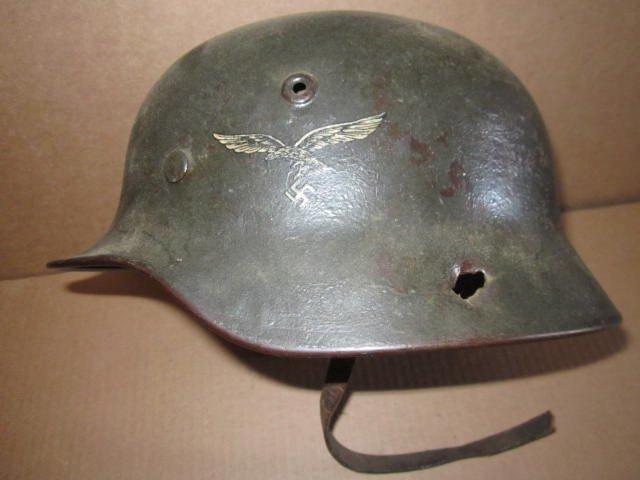German Helmet WWII w/ Eagle & Swastika & Bullet Holes - 2