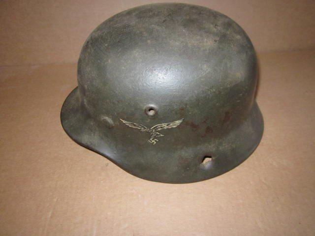 German Helmet WWII w/ Eagle & Swastika & Bullet Holes - 3