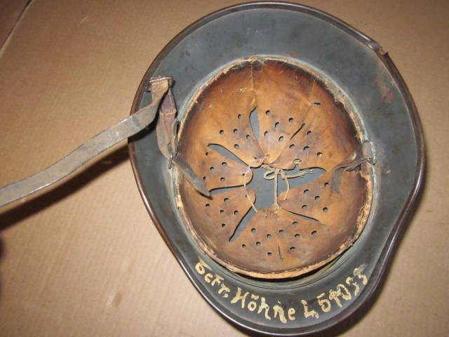 German Helmet WWII w/ Eagle & Swastika & Bullet Holes - 4
