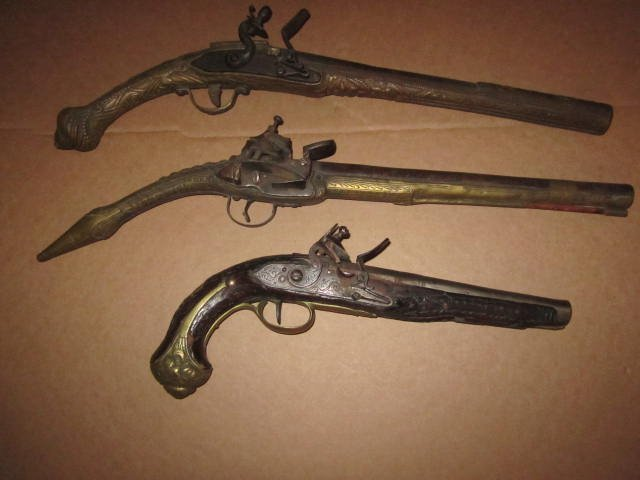 Lot of (3) Misc. Flintlock Pistols, All Poor
