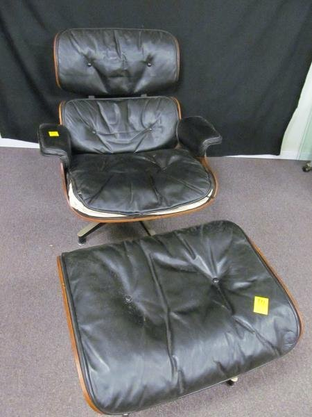 Eames Leather Arm Chair, Black, Metal Frame, Swivels w/