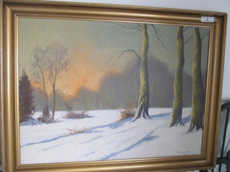 Artist Hxol Larsen, Untitled (Winter Landscape), Oil on