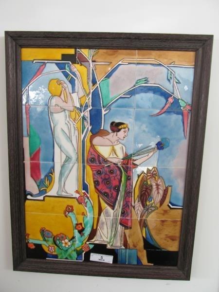 Artist A.L. Crus, Untitled (Two Ladies), Ceramic Tiles,