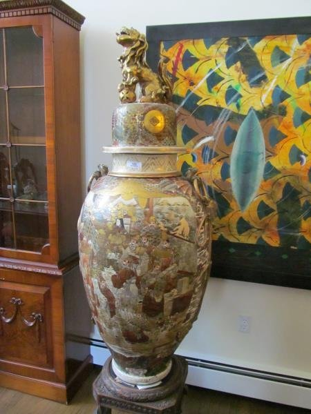 "Palace Size Satsuma Vase w/ Dragon Top Motive, H 5'4"" x"