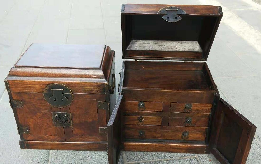 CHINESE QING DYNASTY PAIR OF HUANGHUALI JEWELRY BOX - 4