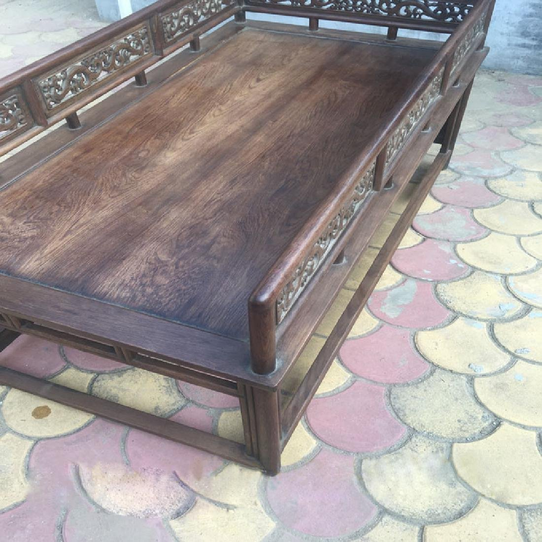 CHINESE QING DYNASTY HUANGHUALI LUO HAN BED SLEEPING - 2