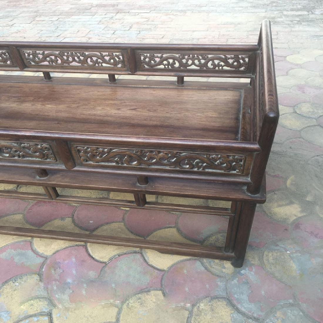 CHINESE QING DYNASTY HUANGHUALI LUO HAN BED SLEEPING - 4
