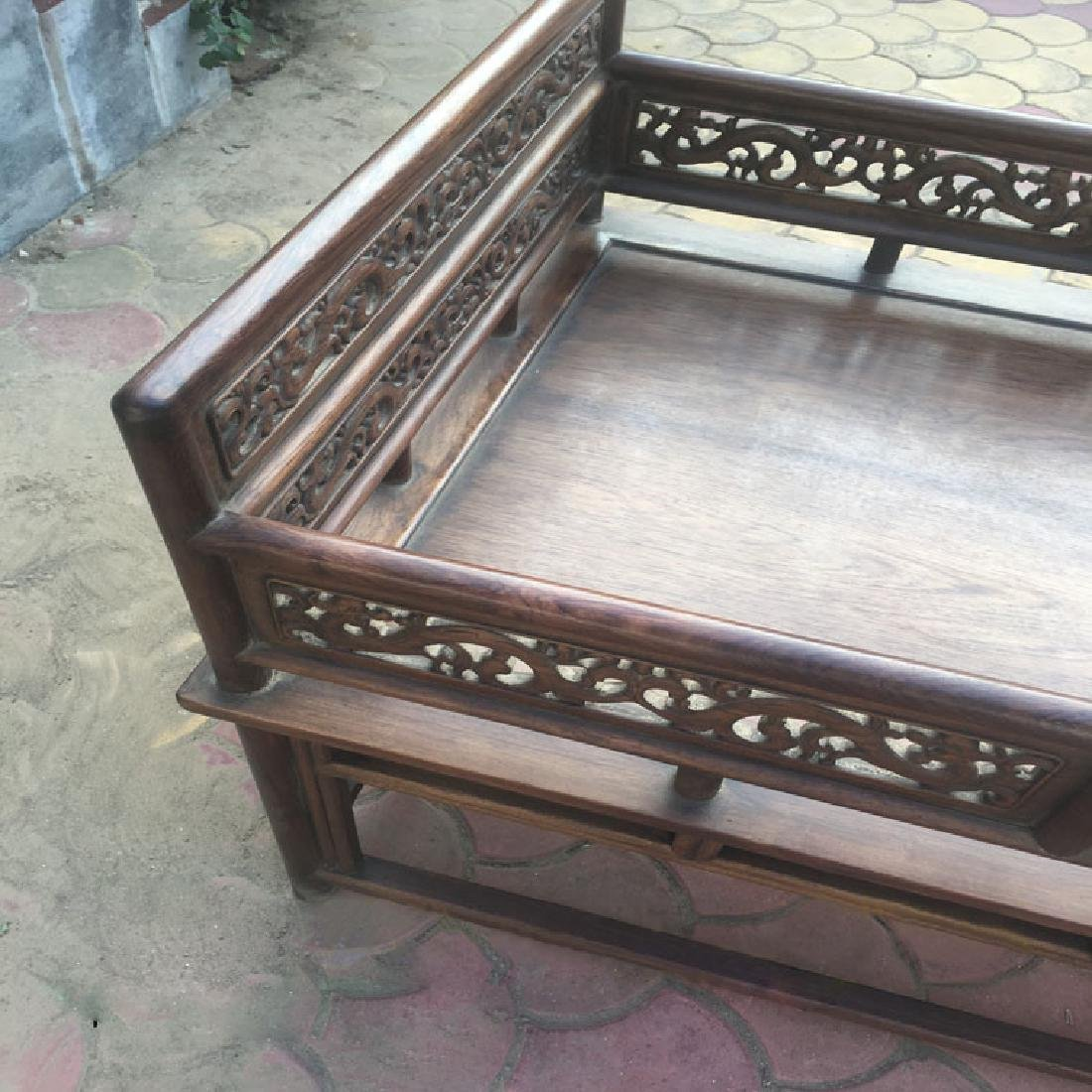 CHINESE QING DYNASTY HUANGHUALI LUO HAN BED SLEEPING - 5