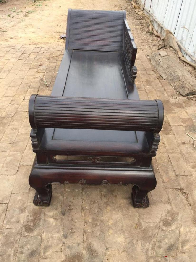 CHINESE QING DYNASTY OLD ZITAN WOOD LUO HAN BED RESTING - 4