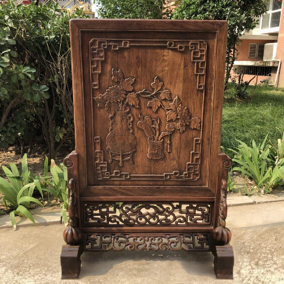 CHINESE QING DYNASTY HUANGHUALI WOOD CARVED SCREEN