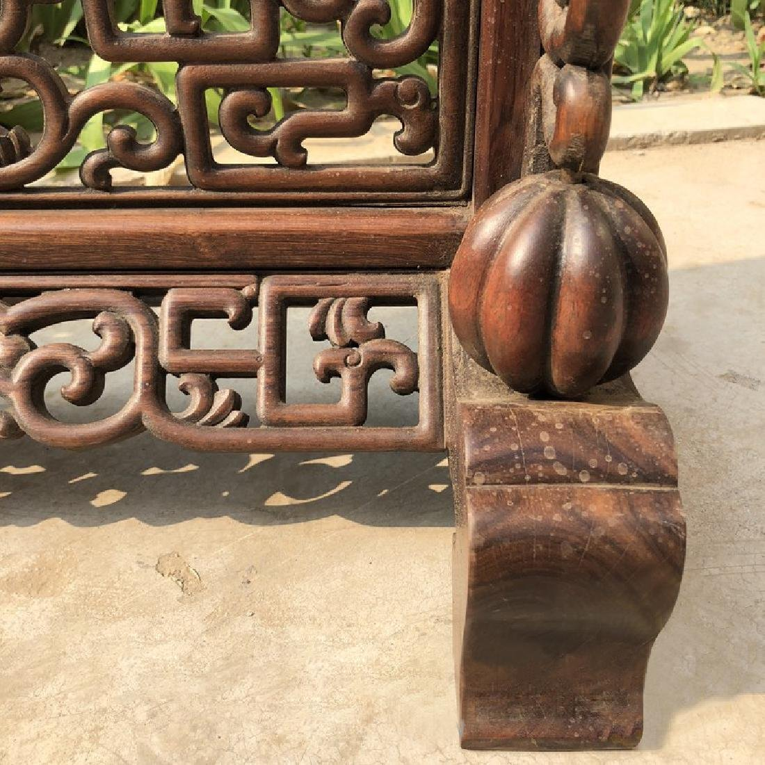 CHINESE QING DYNASTY HUANGHUALI WOOD CARVED SCREEN - 3