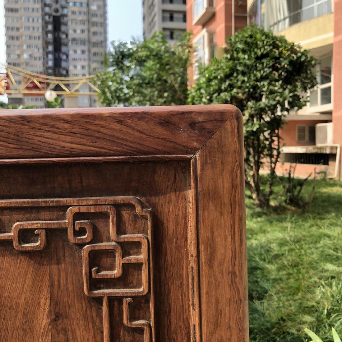 CHINESE QING DYNASTY HUANGHUALI WOOD CARVED SCREEN - 4