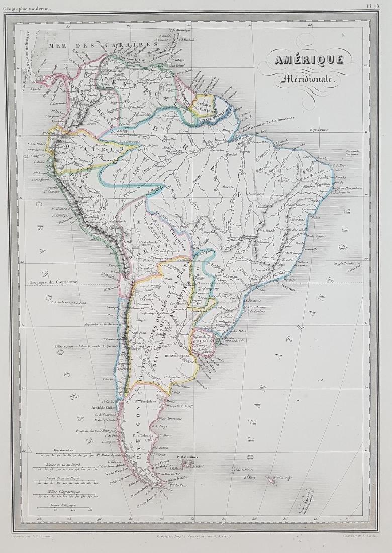 Map South America 1870 Jacobs Fremin
