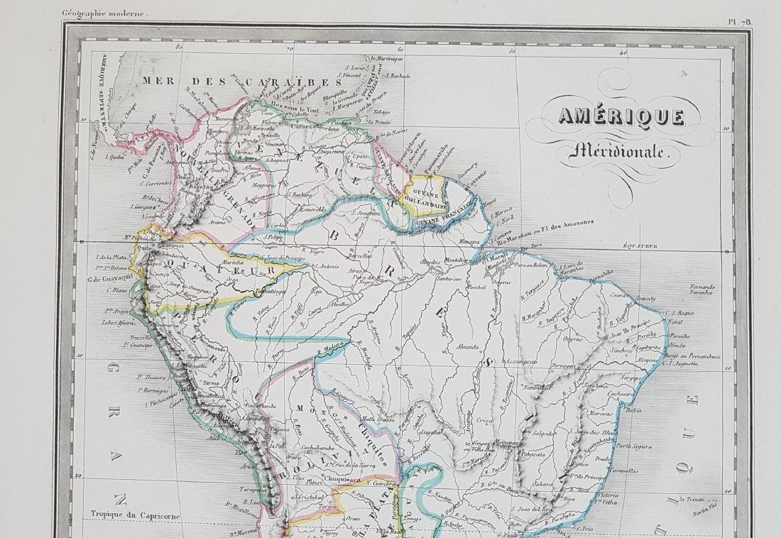 Map South America 1870 Jacobs Fremin - 3
