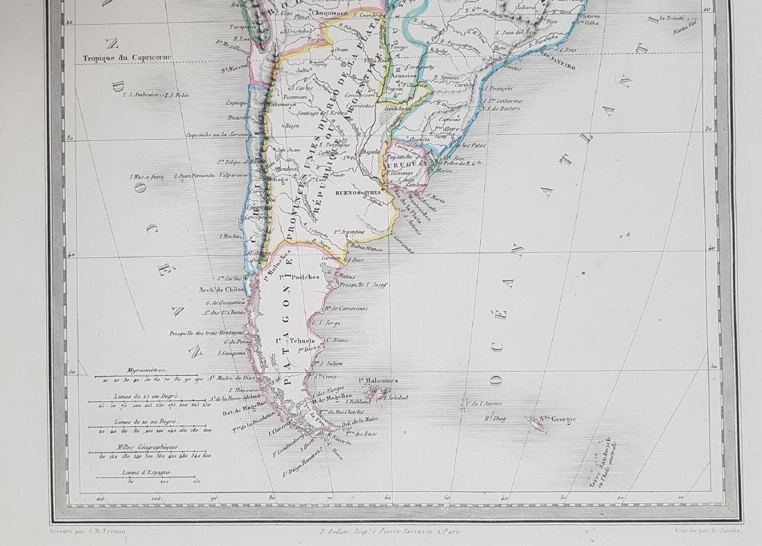 Map South America 1870 Jacobs Fremin - 4