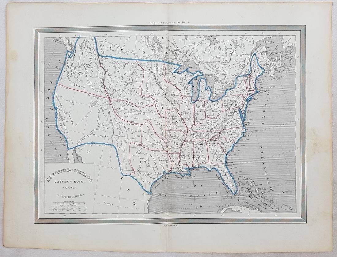 Map United States 1853 Gaspar y Roig - 2