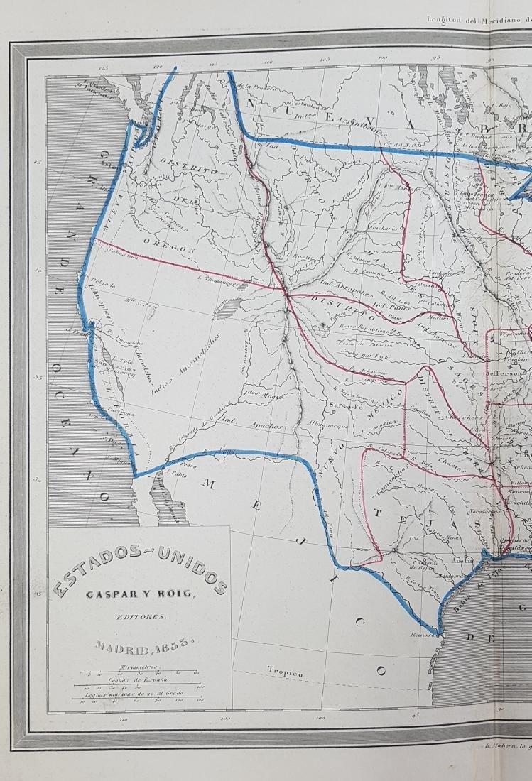 Map United States 1853 Gaspar y Roig - 3