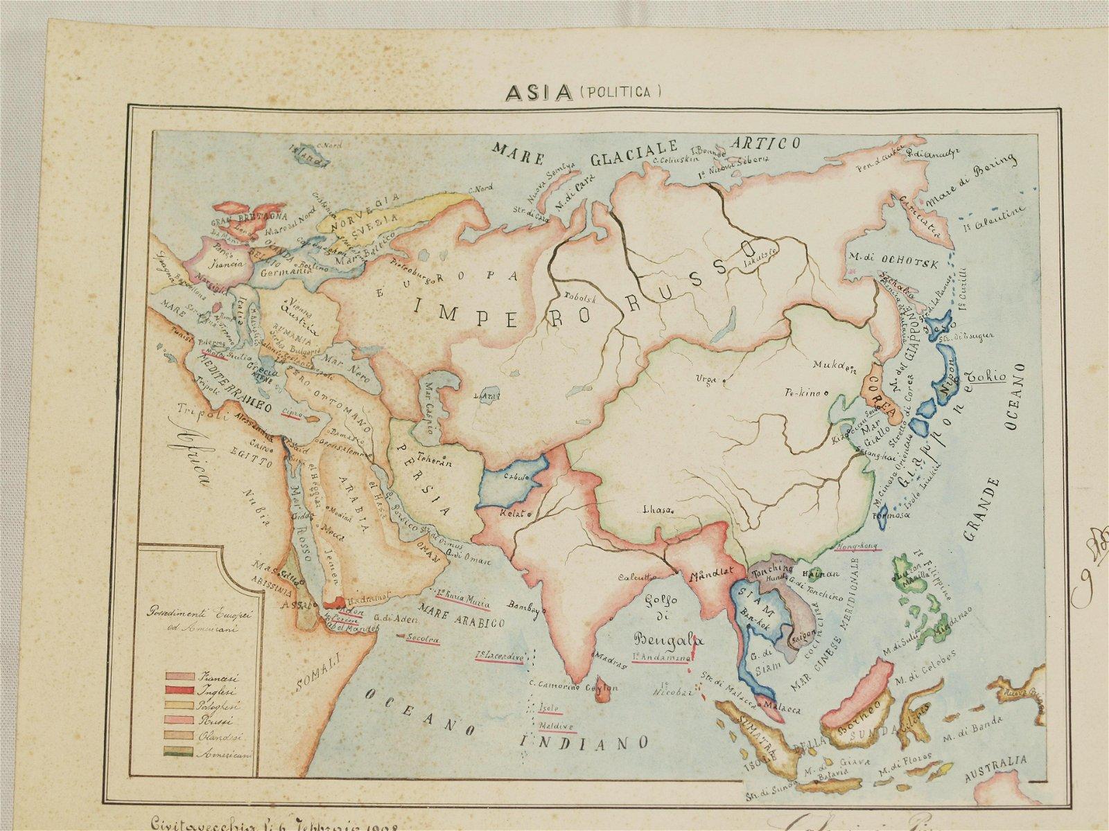 Map Asia handwritten coloured Galamini 1908