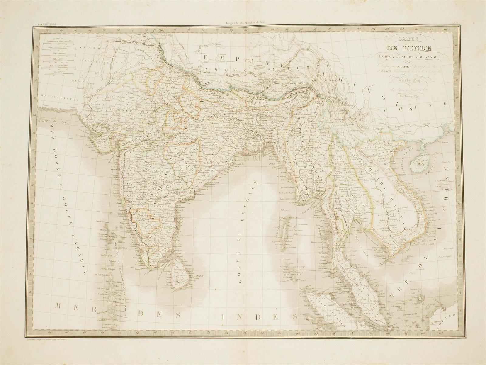Big Map India and Southeast Asia coloured Lapie