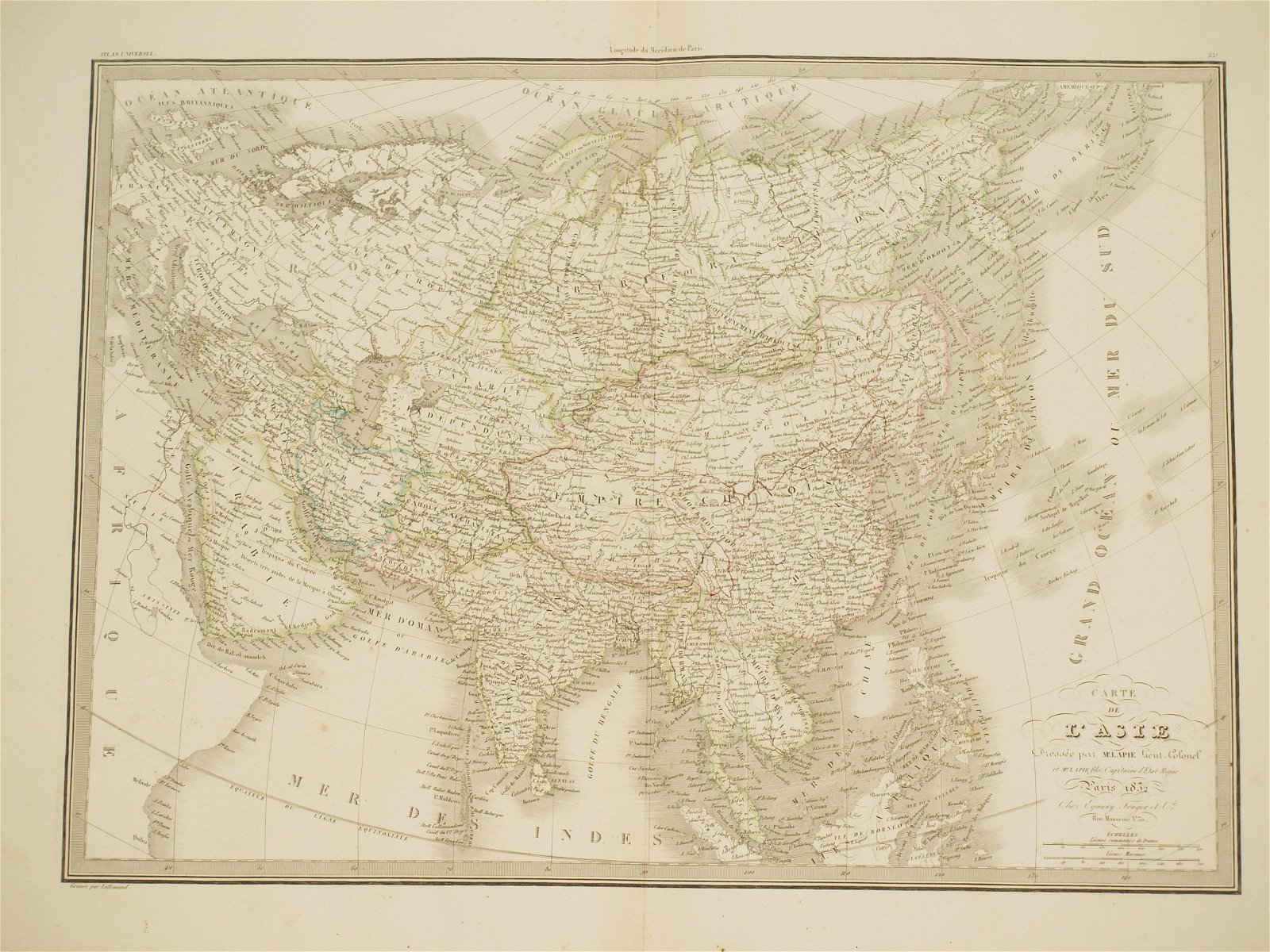 Big Map Asia coloured by hand Lapie 1832